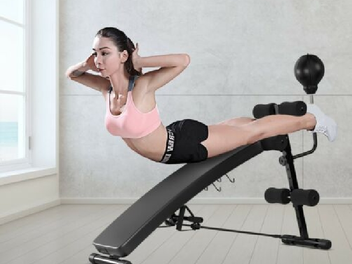 Banc de Musculation Abdominaux 2 Sangles de Traction Pliable Charge max 100KG