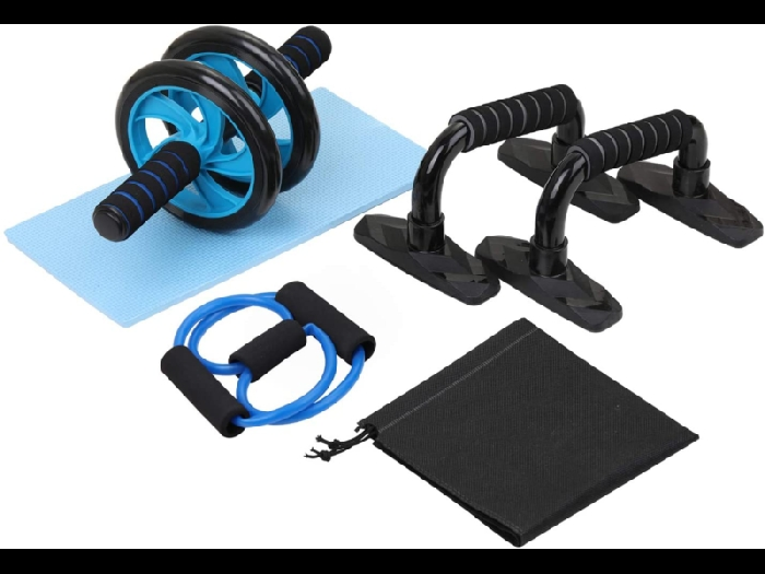 Lixada 4-En-1 Ab Wheel Roller Kit Spring Exerciser Abdominal Press Wheel Pro Ave
