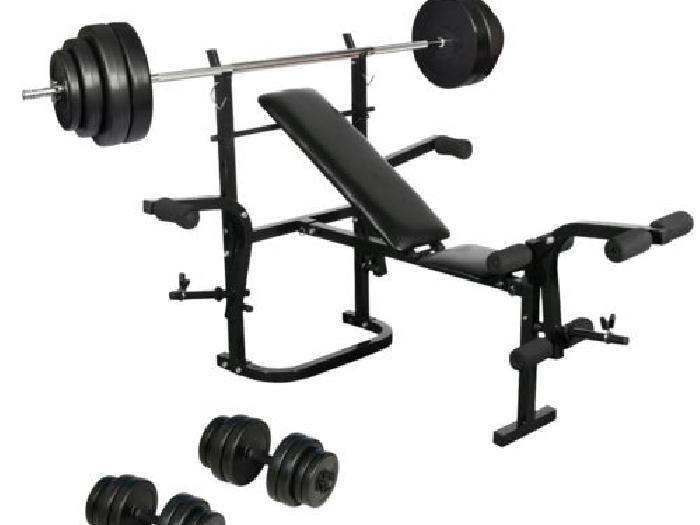 banc de musculation complet pliable avec halt re long et set d halt res fitness musculation. Black Bedroom Furniture Sets. Home Design Ideas