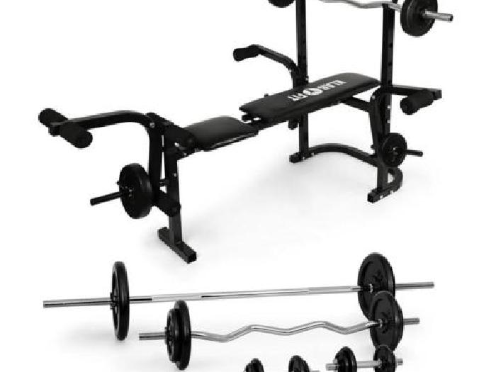 banc de musculation 160kg fitness exercices bras jambes pack halteres complet musculation. Black Bedroom Furniture Sets. Home Design Ideas