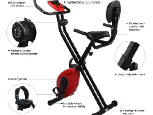 Folding Adjustable Magnetic Upright Exercise Bike Fitness Equipment Work Out FR