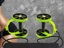 Roller Double Muscle Trainer Wheel Abdominal Power Resistance Bands Gym Arm  _