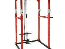 Station de musculation cage musculation dips fitness gym traction lat rouge noir